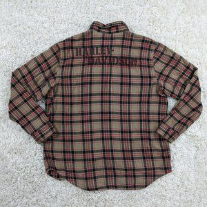 Harley Davidson Flannel Men XL Spellout Red A21